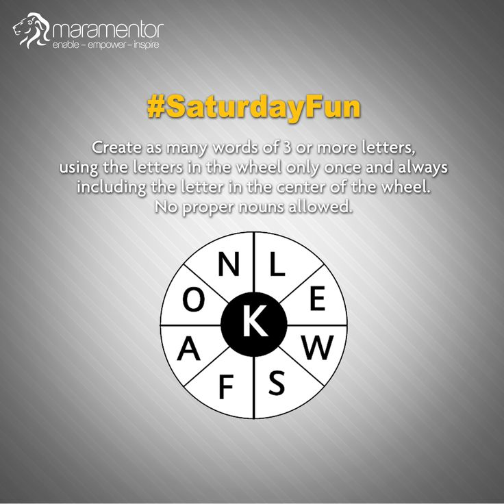 #SaturdayFun  Create as many words of 3 or more letters, using the letters in the wheel only once and always including the letter in the center of the wheel.