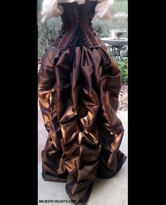Steampunk Brown Corset w/ BROWN Bustle Skirt by MajesticVelvets