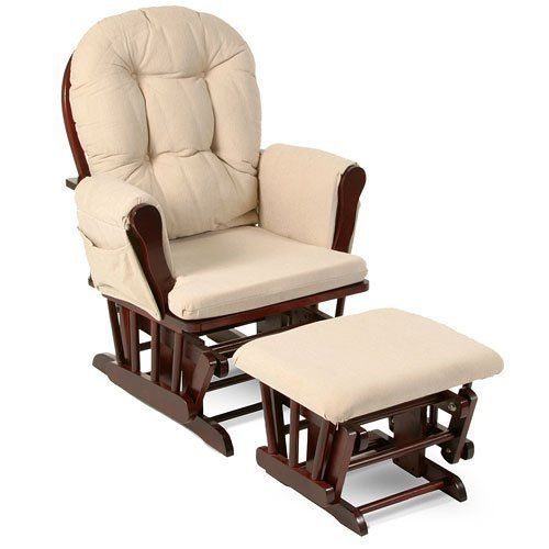 Beige Bowback Nursery Baby Glider Rocker Chair with Ottoman, Beige Cushions - Cherry Finish - Padded Arms - Baby Rocker Nursery Furniture - These Wooden Baby Rocking Chairs Are Built with Exceptional