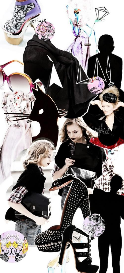 Collage: This i a fashion collage. A collage is a an artwork created by assembling and pasting variety of materials onto a two-dimensional surface.
