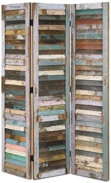 Medina Folding Screen | Currey & Company uses recycled painted planks.  A very rustic look for beach decor or mountain cottage decor.
