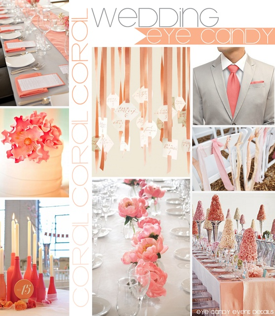 GUYS CAN WEAR THIS TAN COLOR WITH THEIR THEME COLORED VESTS AND TIE  {WEDDING} CORAL Inspiration Board  Eye Candy Event Details