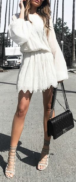 White lace mini dress.