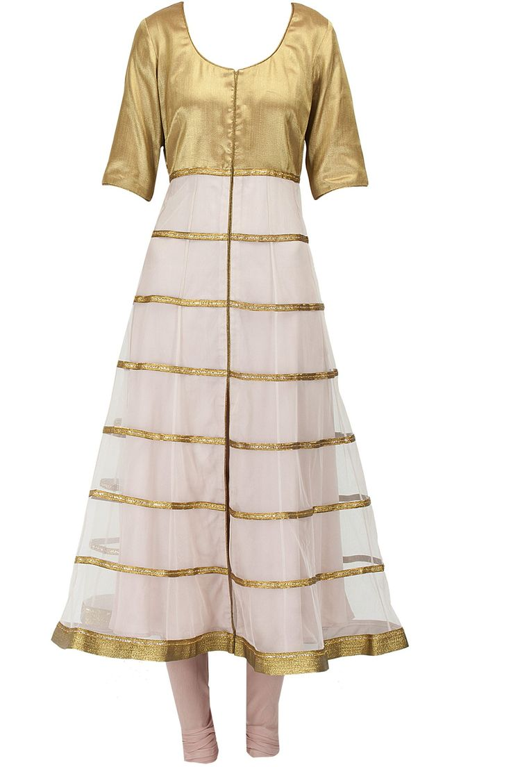 Priyal Prakash | Featuring a fawn colour net anarkali kurta with antique gold brocade yoke and striped detailing.  It comes along with matching crepe churidaar and habutai silk crushed dupatta with gota border.