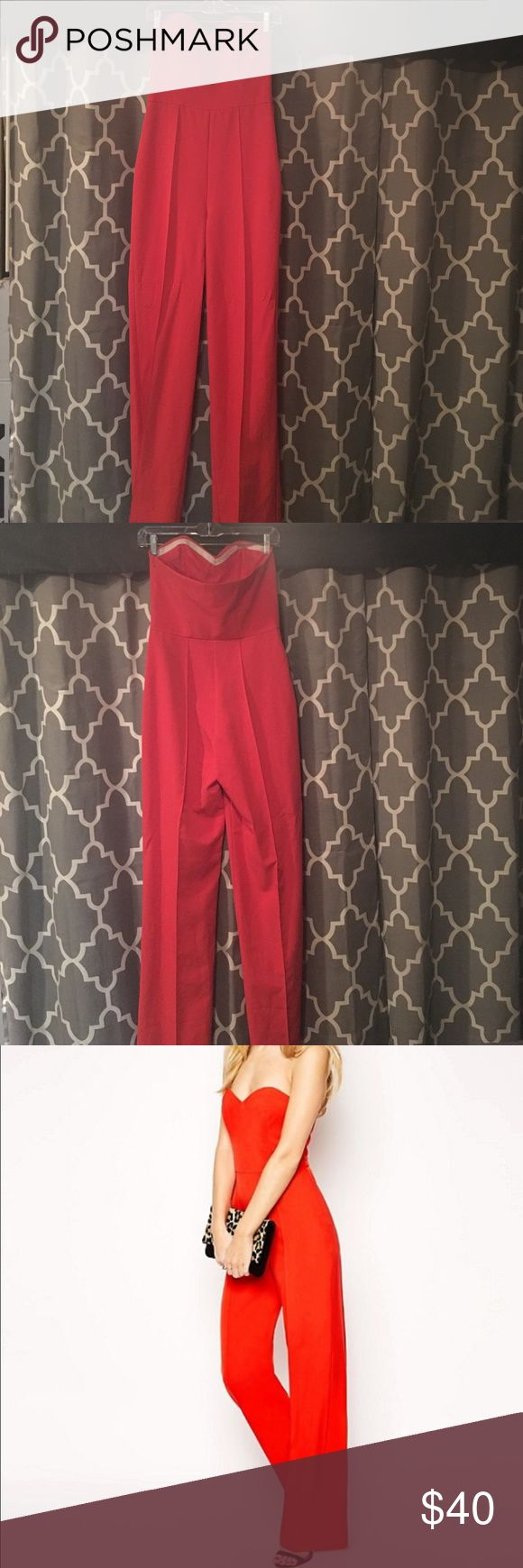 Asos Premium red bandeau jumpsuit Red, strapless jumpsuit, worn once, great condition, reasonable offers will be considered ASOS Dresses Strapless