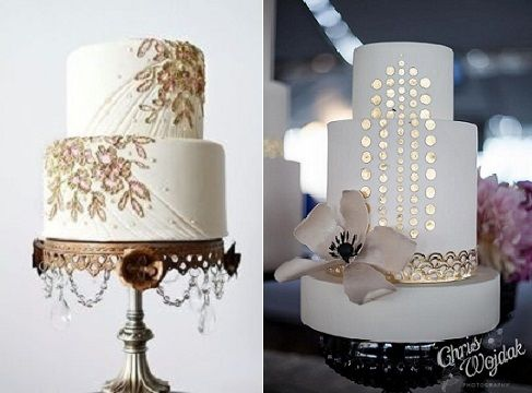 jewelled effect wedding cakes in gold (image left via Pinterest), gold wafer paper accents art deco style wedding cake by Hey There Cupcake, right