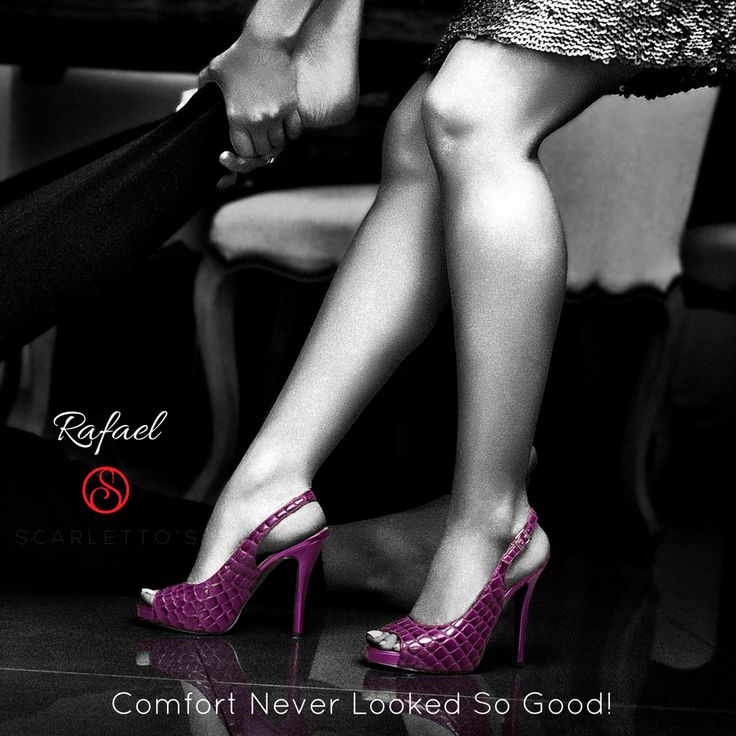 Here is where feminine sophistication meets an eye-catching purple in the striking Rafael. Step out wanting to make a statement in these Phantom purple sling-back stilettos designed for the girl who doesn't shy away from a little attention!  Style the Rafaels with shades of green, lime or darker shades of red for the ultimate street style look. http://scarlettos.com.au/rafael/
