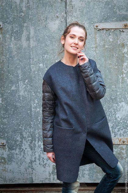 Верхняя одежда ручной работы. Ярмарка Мастеров - ручная работа. Купить Валяное пальто без рукавов Black Pearl. Handmade.