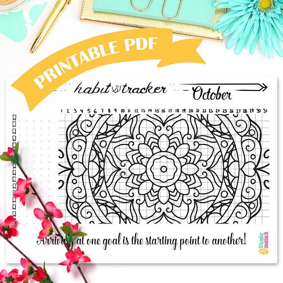 Get ready for October with this beautiful Habit Tracker Mandala. It's design is meant to motivate you to stick to your new healthy habits while getting rid of the bad ones. It fit's perfectly in your bullet journal or any other A5 notebook/planner/ring binder of your choosing. Enjoy!