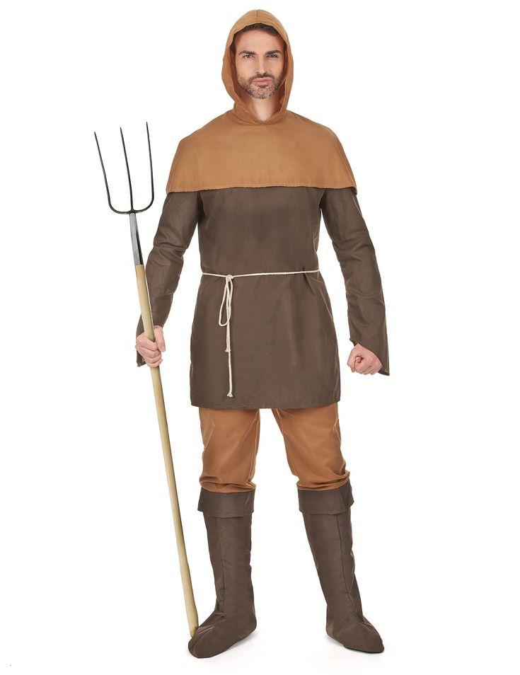 Disfraz hombre medieval: Este disfraz de hombre medieval es para hombre e incluye camiseta con capucha, pantalón y cinturón (horca y dientes no incluidos).La parte superior es marrón oscuro y de manga...