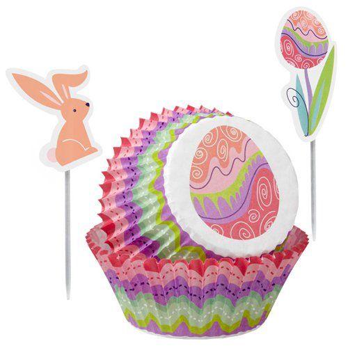 Papír. pečící košíčky s velikonočními  zápichy zajíček