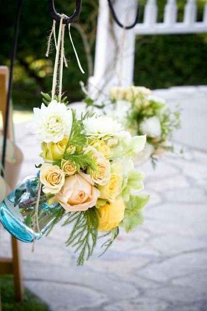 Love! Flowers displayed in a jar.: Blue Mason Jars, Vintage Wedding, Ceremony Decor, Blue Jars, Hanging Flowers, Wedding Flowers, Aisle Flowers, Hanging Mason Jars, Aisle Decor