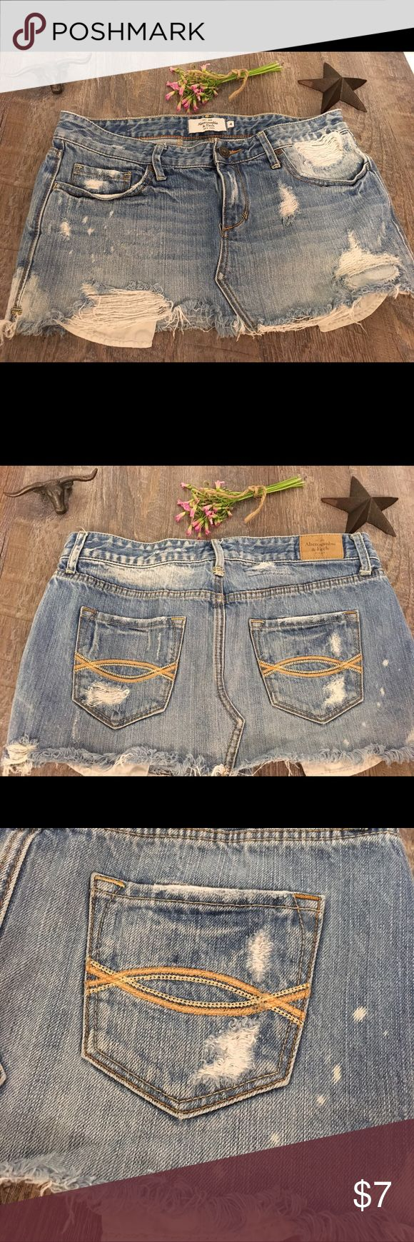 Distressed Jean skirt White washed distrust Abercrombie jeans skirt Abercrombie & Fitch Skirts Mini