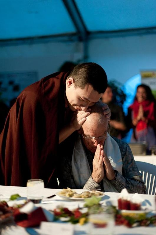 Karmapa XVII blessing Lama Ole Nydahl - I watched this happen and over the next days had the tremendous joy for receiving three blessings from HH the 17th Karmapa and a few blessings for those I love.