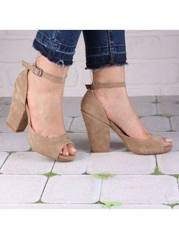 Bej Kalın Topuklu Burnu Açık Ayakkabı - Fotoğraf 13