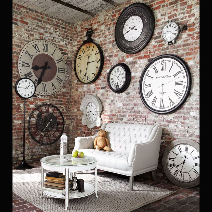 Runde Couchtisch Aus Glas Und Holz Mit Uhr D 72 Cm Weiss Antik Teatime