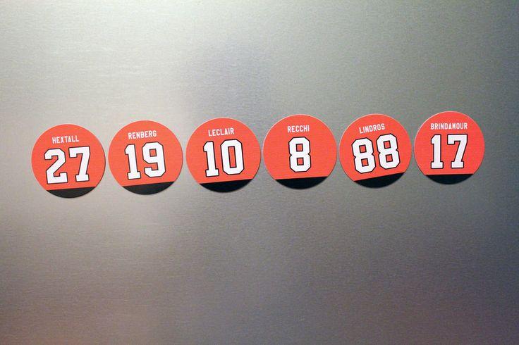 PHILADELPHIA FLYERS Fridge Magnets: Lindros, Recchi, Leclair, Hextall Brindamour #PhiladelphiaFlyers #Flyers