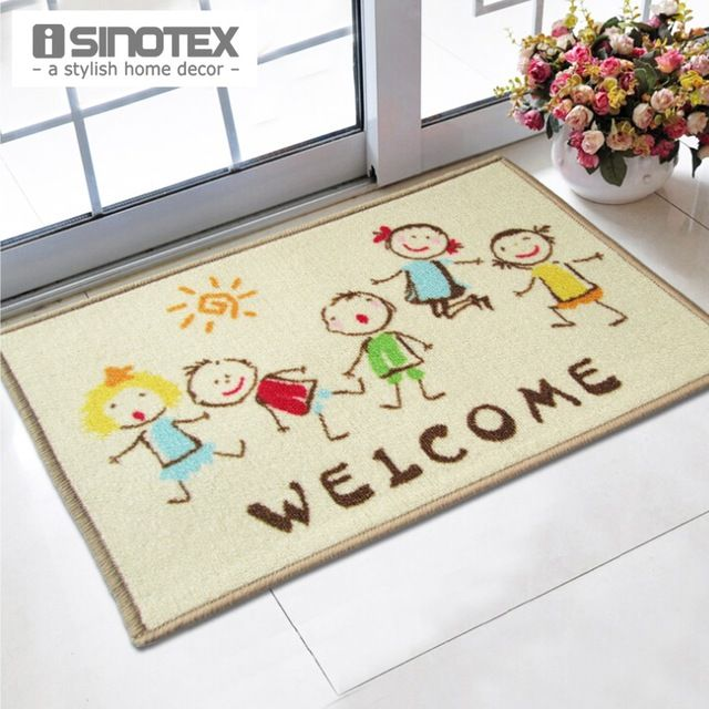 Welcome Doormat 40x60cm Cartoon Kids printed tapetes bath mat , PLAYROOM, BEDROOM MAT for Children living room bathroom carpet nylon mats Wholesale rugs
