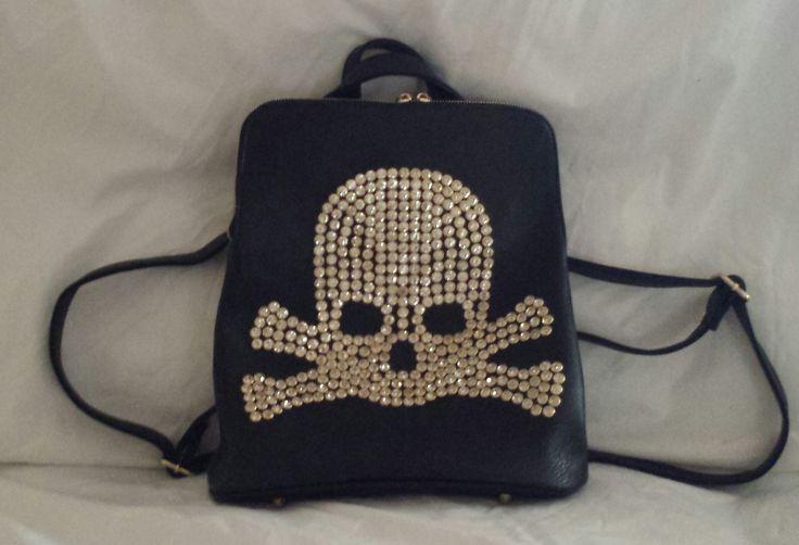 """AGTS"" Logo  Diamantes Skull and Crossbones Backpack  $70.00"