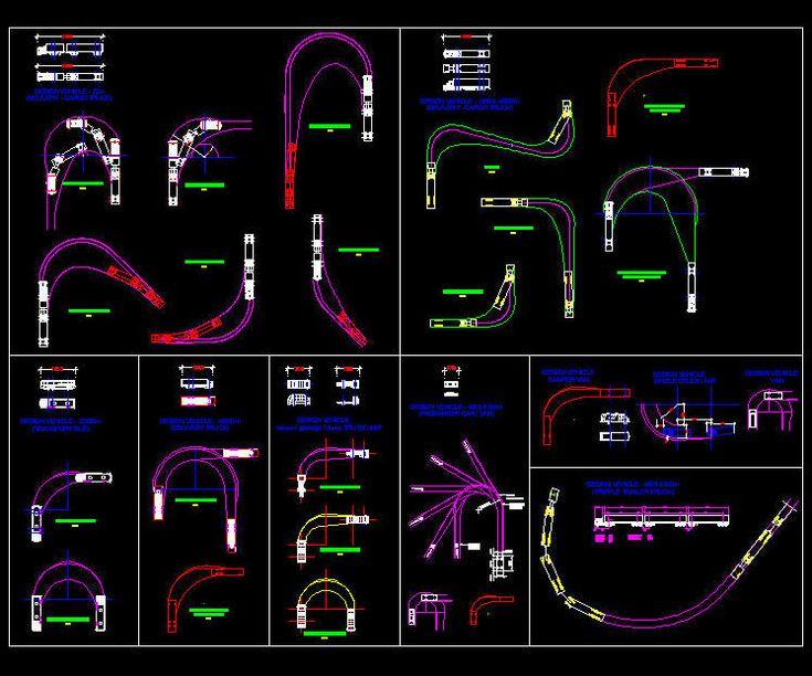 CAD DRAWING : VARIOUS VEHICLE TURNING RADIUS / CIRCLE LAYOUTS 1