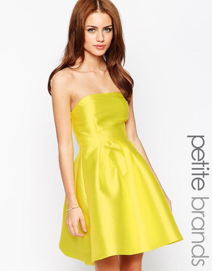 True Decadence Petite Strapless Satin Prom Dress