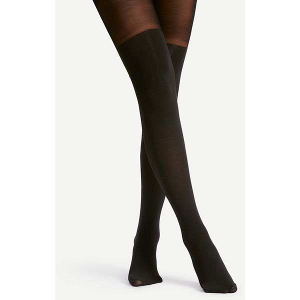 SheIn(sheinside) Two Tone Tights (9.88 BAM) ❤ liked on Polyvore featuring intimates, hosiery, tights, white hosiery, nylon stockings, two tone tights, white nylon stockings and nylon pantyhose