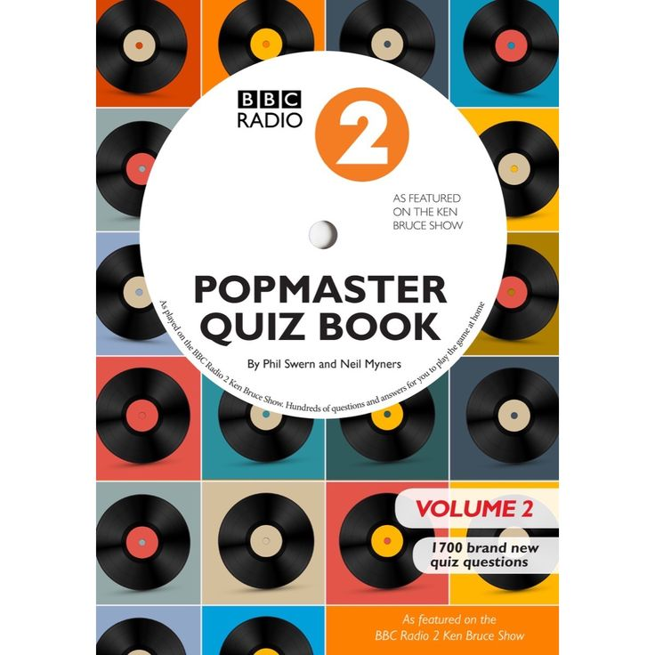 Radio 2 Popmaster Quiz Book.  Radio 2's Pop Master quiz has been enthralling listeners to the Ken Bruce show for more than 18 years. Now, for the first time, you can play the quiz in your own time at home or in the pub. Featuring more than 1700 questions, this book will keep you entertained, amused and informed for hours. Written by the programmes expert quiz-setters Phil Swern and Neil Myners, this is a must for pop-trivia addicts and aficionados alike!