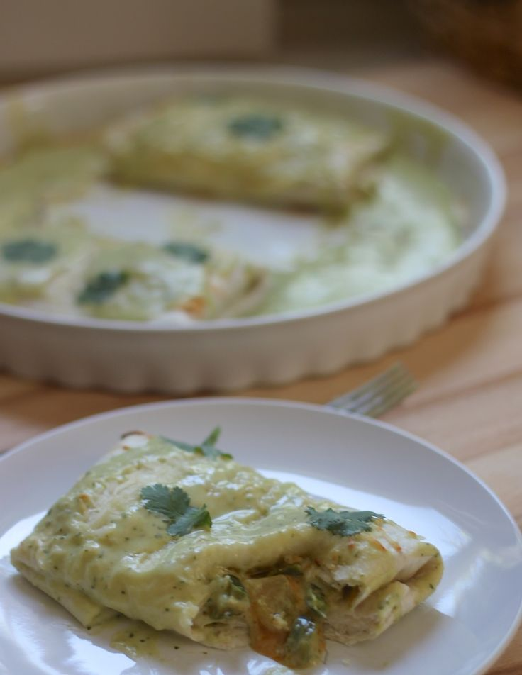 Chicken Enchiladas with Avocado Cream Sauce (onion, poblano peppers, jalapeno, c…