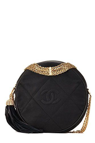 76053f1eabf4  2950 - CHANEL Black Round Quilted Satin Mini Tassel Crossbody (Pre-Owned)