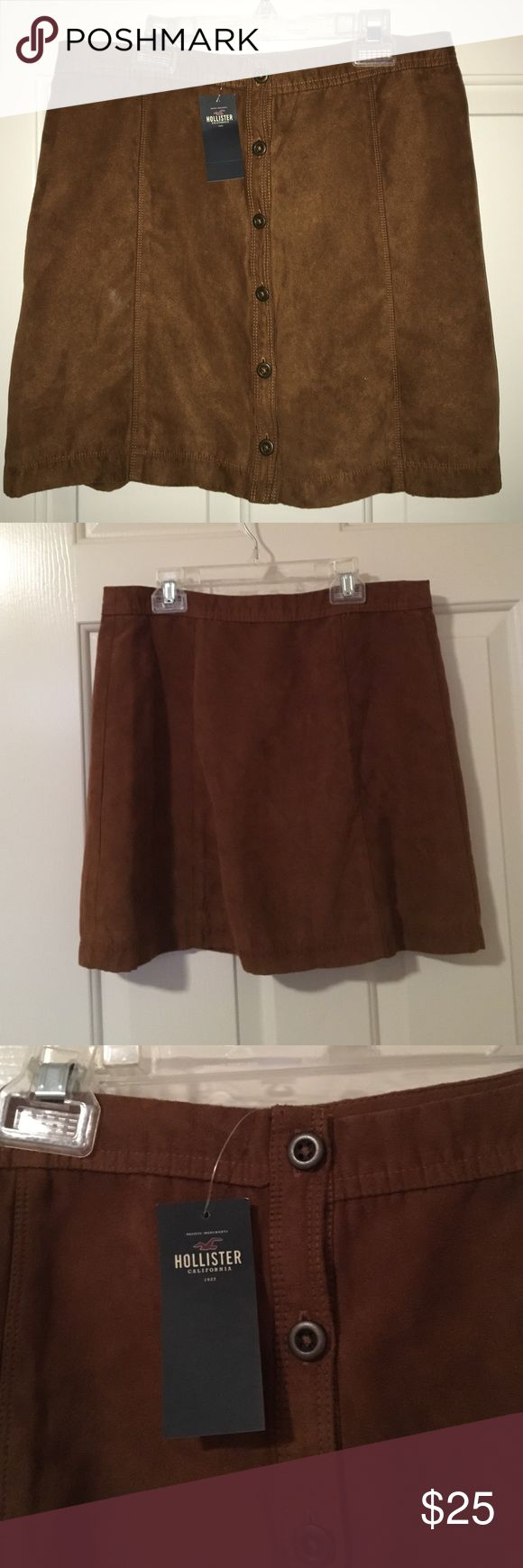 Hollister Brown Suede Button Up Skirt brown suede Hollister skirt with buttons. brand new, never worn, with original tags Hollister Skirts Circle & Skater