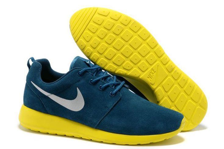 2013 Nike Roshe Run Uomo Scarpe Da Running - Dark-Blu/Grigio/giallo