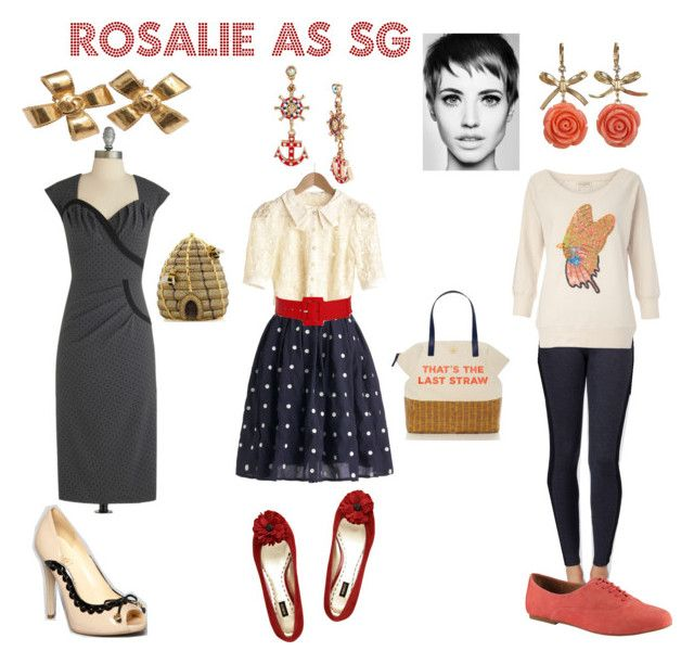 """""""Rosalie as SG"""" by thewildpapillon ❤ liked on Polyvore featuring Ella Moss, French Connection, ALDO, Calvin Klein, Betsey Johnson, Mimco, Kate Spade, Chanel, Ivanka Trump and Judith Leiber"""