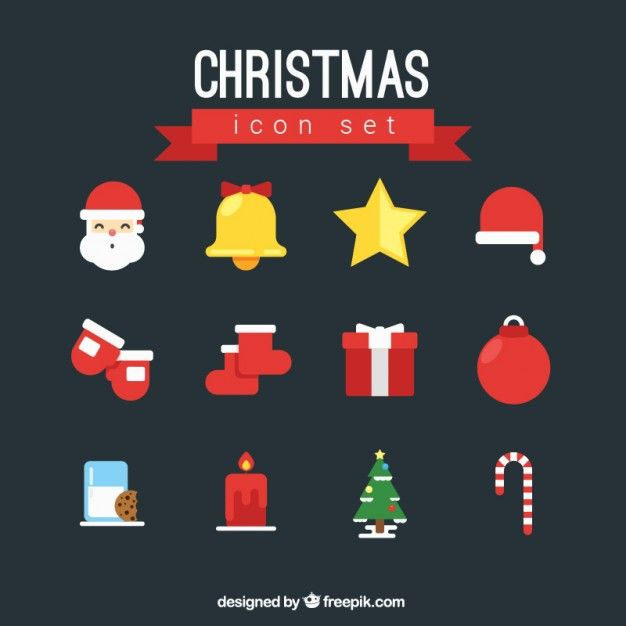 Christmas Color Icon Set Free Vector