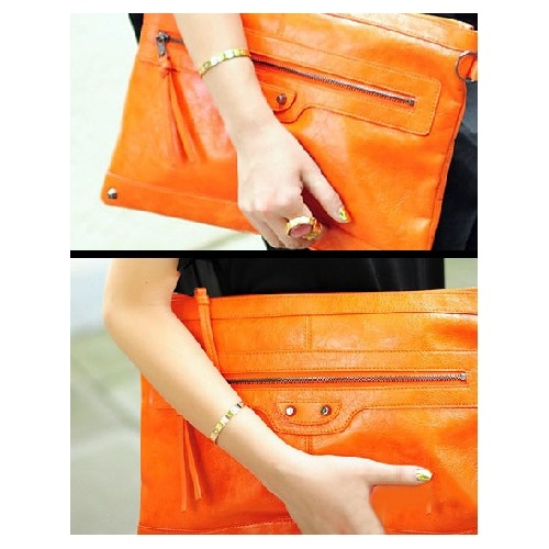 Solid Orange Zipper PU Fashion Bags $7.00