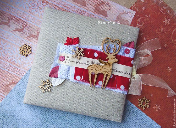 Купить Зимний фотоальбом с оленем:) - комбинированный, фотоальбом, альбом ручной работы, альбом для фото