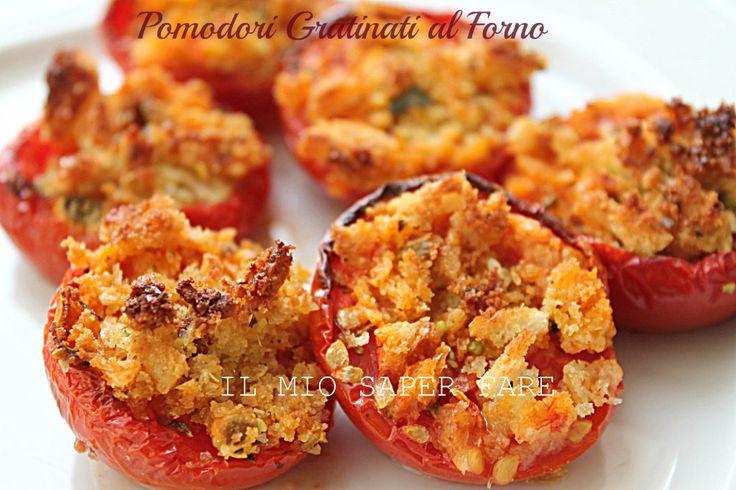Pomodori gratinati al forno | ricetta contorno blog il mio saper fare