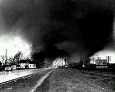"""""""Famous"""" picture of the double tornado that hit the Midway Trailor Park, in Elkhart, IN (Just 45 minutes from my home in Niles, Mi) during the Palm Sunday tornado outbreak. April 11, 1965"""