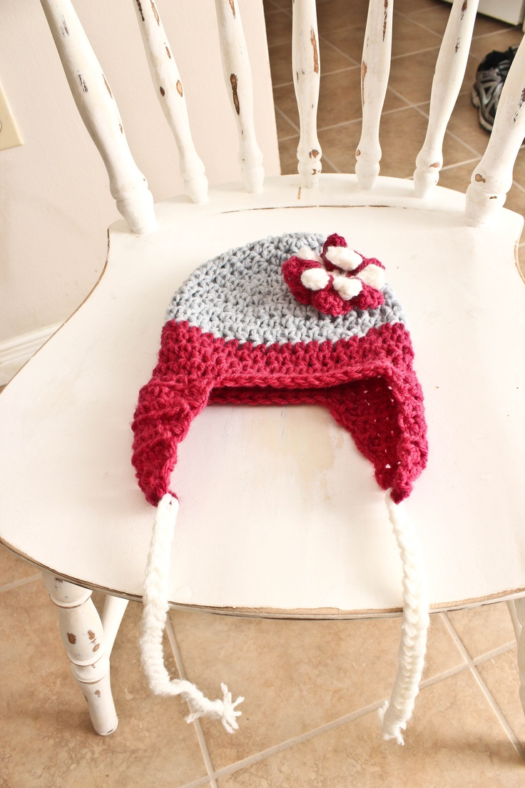Girl's Flowered Beanie with earflaps. Custom order for size and colour. $15.00 Visit AngelMouse Knitwear on Facebook