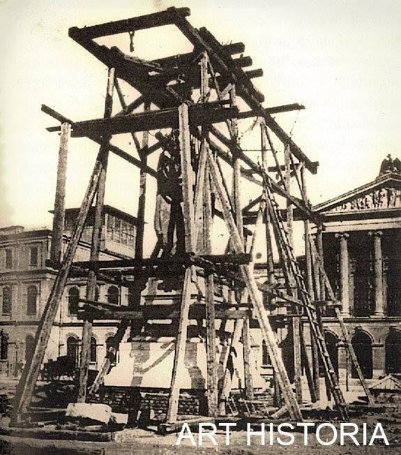 Bucuresti - Statuia lui Mihai Viteazu de la Universitate in 1874, aproape finalizata!