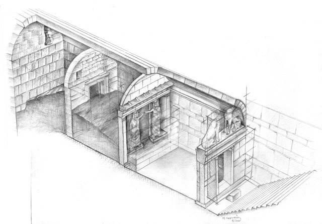 Amphipolis Tomb ~ The progress of the excavations so far. Official diagram drawn by the chief architect of the excavations, Michalis Lefantzis ...
