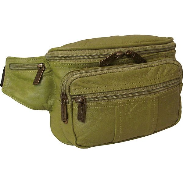 AmeriLeather Easy Traveller Fanny Pack - Lime - Travel Wallets ($41) ❤ liked on Polyvore featuring bags, green, belt bag, leather belt bag, waist pouch bag, bum bag and belt pouch bag