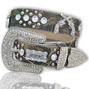 Western Bling Decorated with Studs and Square Stones AND PISTOLS  Decorated  Buckle with Rhinestones and Detachable Buckle