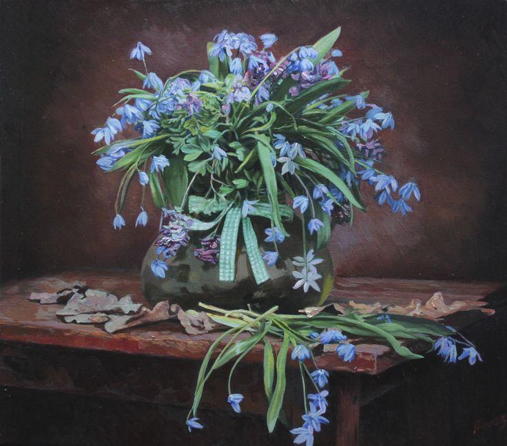 Панов Эдуард. Голубые цветы, 2015   Холст, масло, 40 х 45 см, без багета