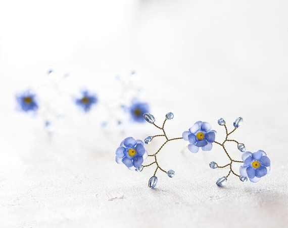 Flower hair pins Pins for bride Forget-me-not hair by ArsiArt
