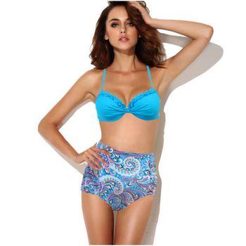 Синий винтаж высокой талией комплект бикини пуш-ап хлопка-ватник цветочные купальники купальники сша