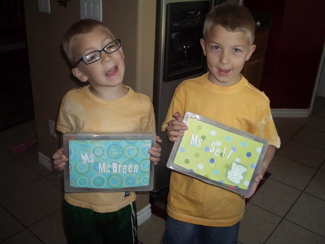 """another teacher gift goodie from the """"junkintheirtrunk"""" blog:  fill a clear plastic container with miscellaneous desk/office supplies (thumbtacks, glue sticks, pens, pencils, post-its, etc.) and decorate the box with the teacher's name."""