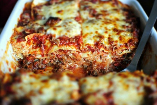 This is hands down the best lasagna my lips have ever had the pleasure to come across. The sauce is made with San Marzano plum tomatoes, Italian sausage and just the right amount of herbs.