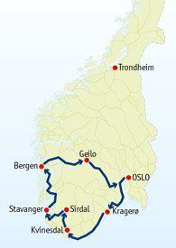 Auto rondreis langs natuur en cultuur van Zuid Noorwegen