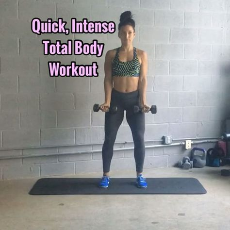 Quick, Intense Total Body Workout Perfect for busy holiday time of year. - - 1. Curl Press (keep core engaged, try not to swing, go slow & controlled) 10 Reps - - -- 5 Burpee Presses (so you'll be doing 5 burpee presses in btwn every move) - - 2. Squat & Row (wide stance, chest proud shoulders back, squat, then bend over slightly for row) 10 Reps - - -- 5 Burpee Presses - - 3. Reverse Lunge Twist (core engaged, chest proud, squeeze that Booty cheek) 8 Reps ea Side - - -- 5...