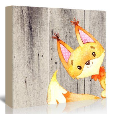 East Urban Home 'Woodland Friends Wild Animal Fox Square' Graphic Art Print on Canvas